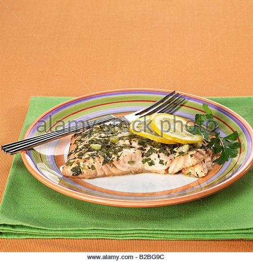 Close up of salmon entree - Stock Image