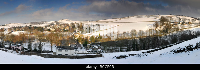 Panoramic View of the Peak District Village of Rainow in Winter, Cheshire, England, UK - Stock Image