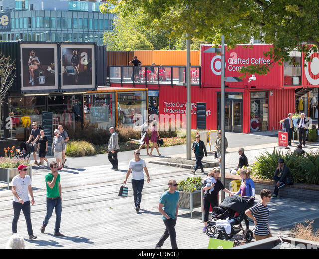 Christchurch Container Mall, Re:Start pop-up Mall or Cashel Street Mall built from shipping containers after the - Stock-Bilder