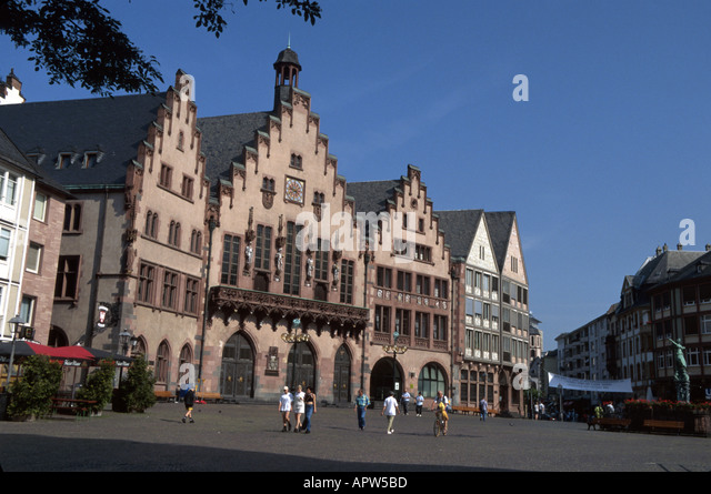 Germany Frankfurt Romer Square Rathaus - Stock Image