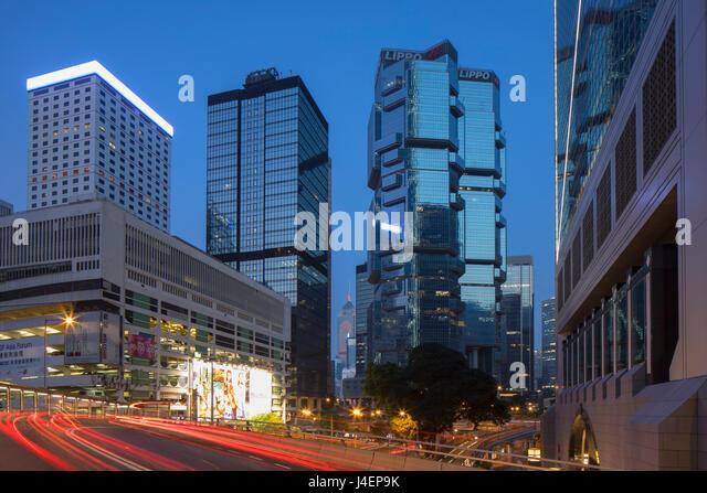 Skyscrapers of Admiralty at dusk, Hong Kong Island, Hong Kong, China, Asia - Stock Image