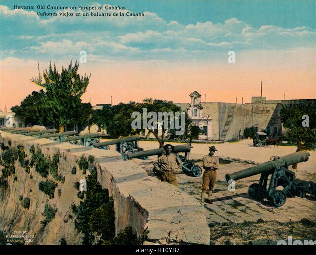 Old cannons on a parapet at La Cabana Fortress, Havana, Cuba, c1920. Artist: Unknown. - Stock Image