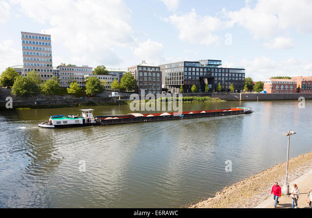 Grain barge on the River Wesser, Bremen, Germany - Stock Image