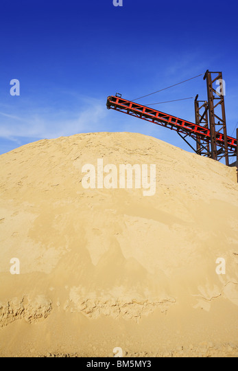 construction sand quarry mountain installation machinery - Stock Image