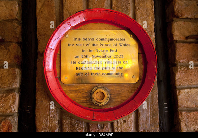 Memorial in the Dykes End pub, for the visit of Prince Charles, Reach village, Cambridgeshire UK - Stock Image