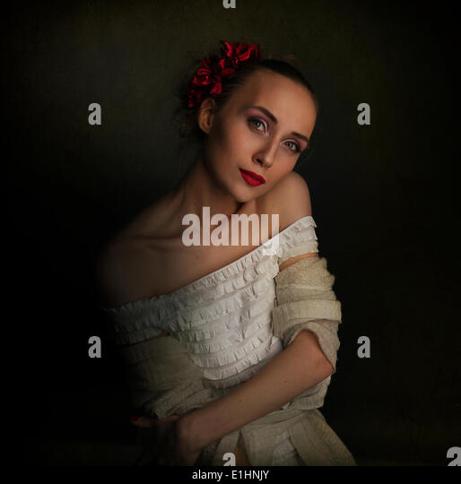 Retro vintage style - young woman in medieval era clothes - Stock Image