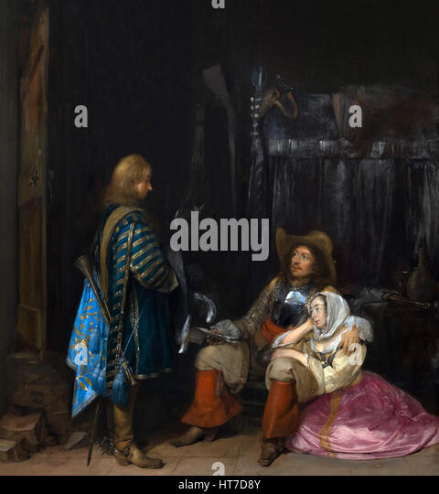 The Messenger, Unwelcome News, by Gerard ter Borch, 1653, Royal Art Gallery, Mauritshuis Museum, The Hague, Netherlands, - Stock Image