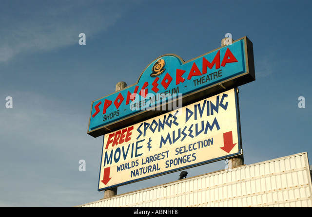 Tarpon Springs Florida Spongeorama Sign Free Sponge Diving Movie and Museum World s Largest Selection Natural Sponges - Stock Image