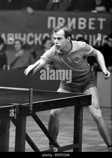 Member of the Soviet national table tennis team Anatoly Amelin competing - Stock Image