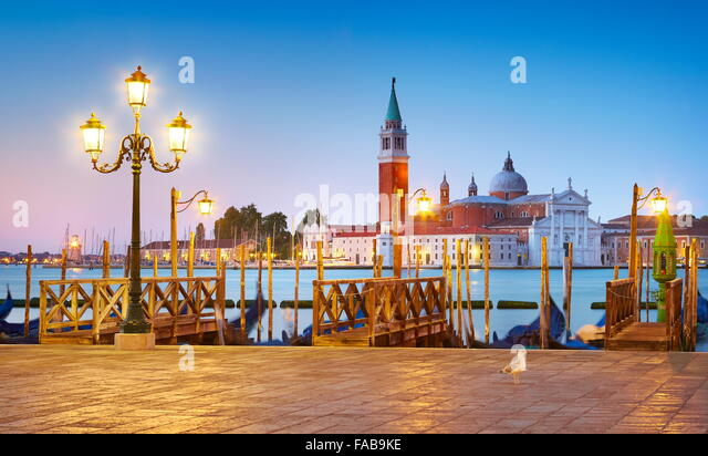 Venice San Marco at evening - view to the The Cathedral of San Giorgio Maggiore, Venice, Italy - Stock Image