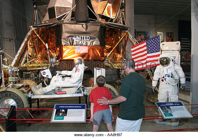 Huntsville Alabama U.S. Space and Rocket Center father son Luner Excursion Module exhibit - Stock Image