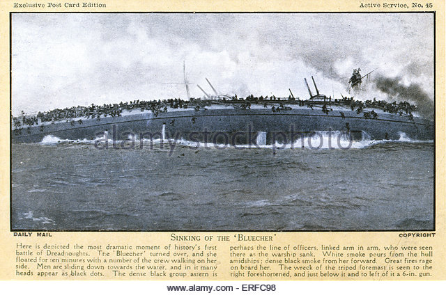 Sinking of the Bluecher, 1915. Early twentieth century maritime postcard. - Stock Image