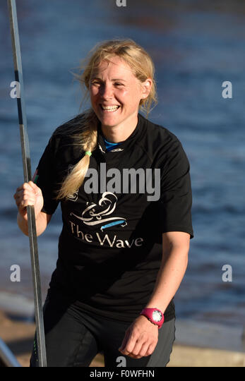 St. Petersburg, Russia, 21st August, 2015. Two-time British Olympic gold medalist Sarah Ayton from The Wave, Muscat - Stock Image