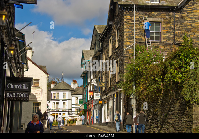 Ambleside street scene Lake District UK cumbria united kingdom England market town tourist attraction - Stock Image