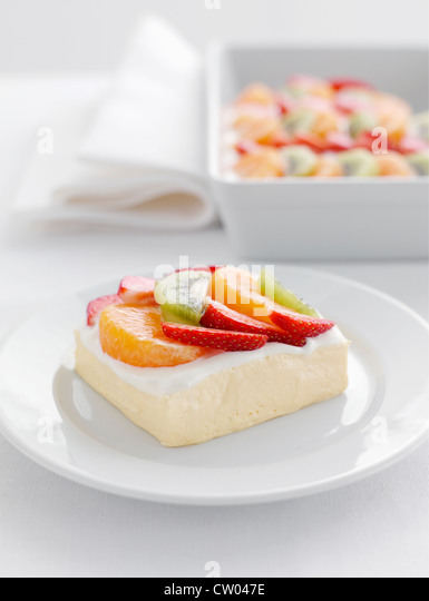Plate of fruit salad and yogurt - Stock-Bilder