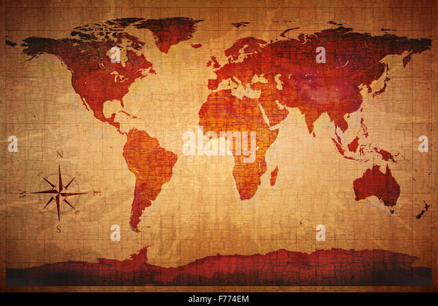 World Map on old grungy antique and yellow cracked paper background (Map derived from http://visibleearth.nasa.gov - Stock Image