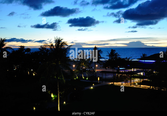 View from Shangri La hotel out to sea in Sabah, Borneo, Malaysia - Stock Image
