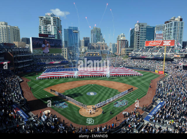 The San Diego Padres professional baseball team celebrate opening day of the season April 9, 2015 in San Diego, - Stock Image