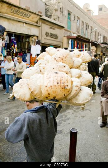 Egypt, Cairo, bread seller - Stock Image