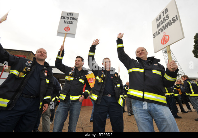 Fire fighter on strike - Stock Image