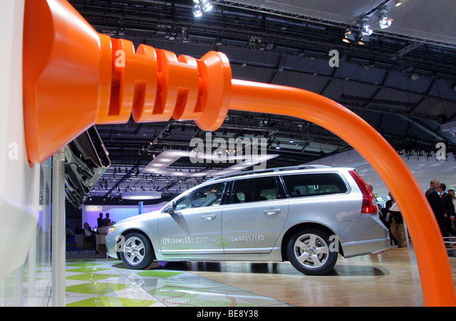 Hybrid car Volvo V70 1,6D DRIVe at the 63. IAA Motor Show in Frankfurt/Germany - Stock Image