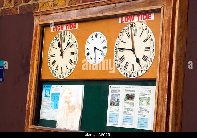 Woodbridge Quay Tide Clock - Stock Image