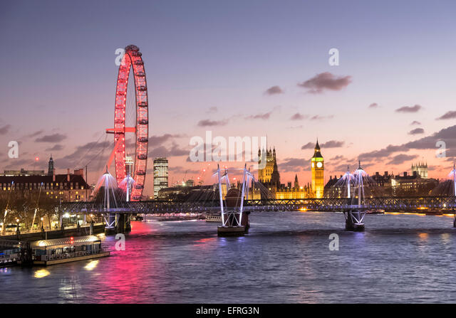 The London Eye and Big Ben with Houses of Parliament at Night, London, England, UK - Stock Image