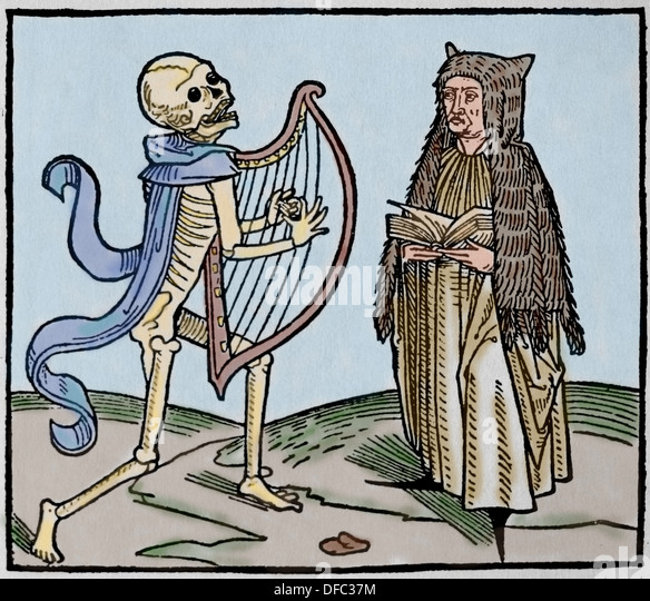 Medieval period. Europe.14th century. Dance of Death. Allegory of universality of the death. Colored engraving. - Stock-Bilder