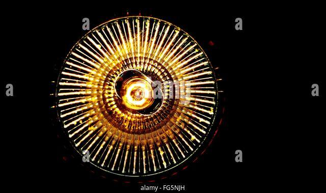 Directly Below Shot Of Illuminated Lighting Equipment - Stock Image