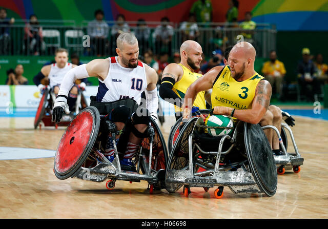 RIO DE JANEIRO, RJ - 18.09.2016: PARALIMPÍADA 2016 RUGBY - Dispute between Gold United States (US) and Australia - Stock Image