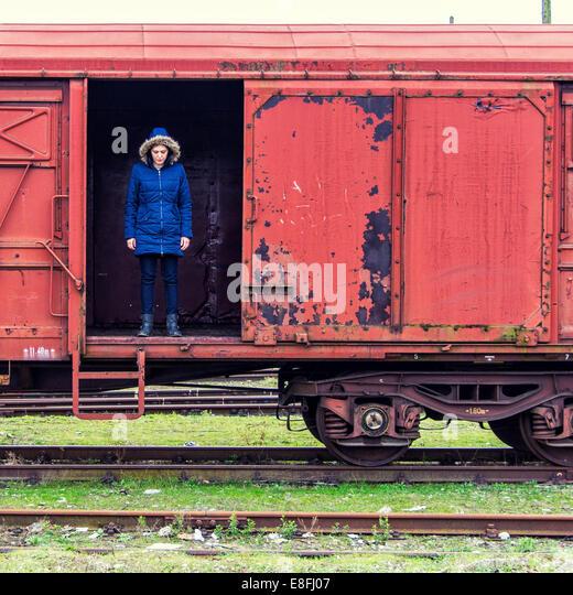 Croatia, Zagreb, Women on old train - Stock Image