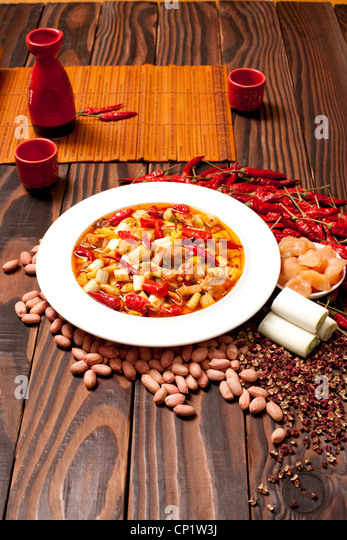 Kung Pao Chicken and its ingredients - Stock Image