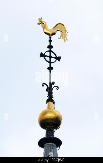 The Weather Vane at the top of the church tower of St Mary's Wendover, Buckinghamshire, England, United Kingdom. - Stock Image