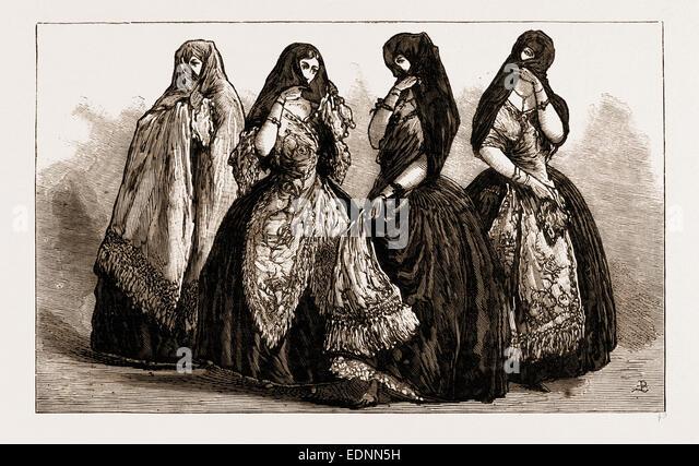 LA TAPADA: OLD-FASHIONED COSTUME OF LIMA LADIES, PERU, 1881 - Stock Image