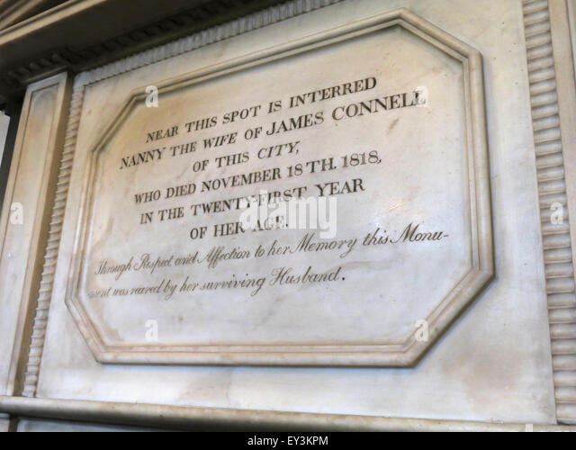 St Cuthberts Church,Carlisle,Cumbria,England,UK interior- Nanny wife of James Connell tomb,stone - Stock Image