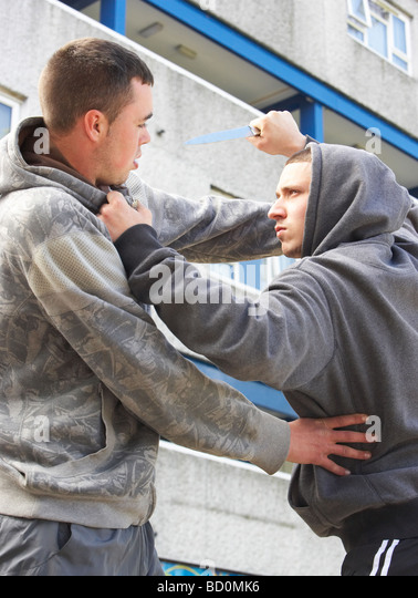 Knife Crime On Urban Street - Stock Image