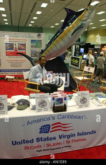 Miami Beach Miami Florida International Boat Show US Virgin Islands as a big game fishing destination exhibit - Stock Image