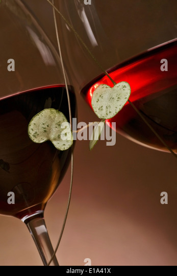 loveheart vine encircling two glasses of red wine, suggestion of romance. - Stock-Bilder