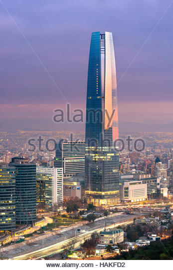 Gran Torre Santiago in Costanera Center at Dusk, Providencia District, Santiago de Chile, Chile - Stock Image