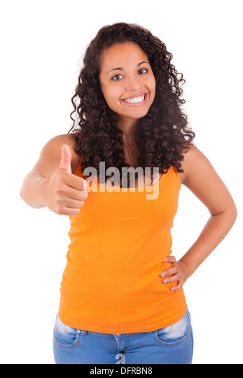 Portrait Of Young Woman Showing Thumb up sign isolated - Stock Image