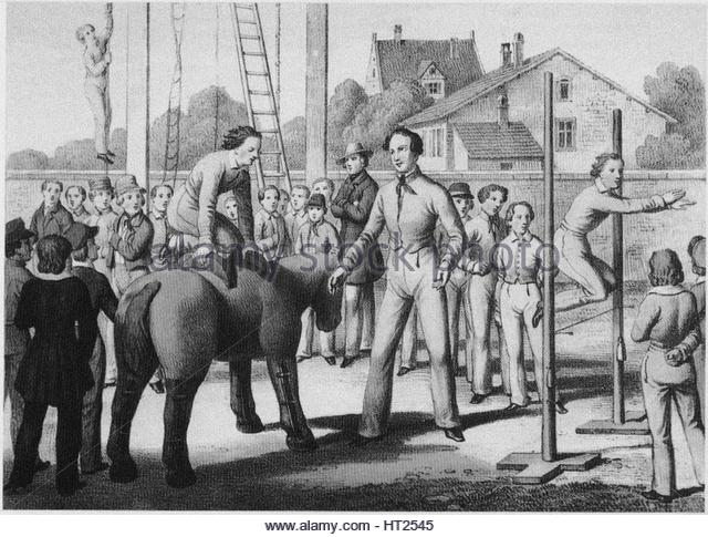 The gymnastics movement in Prussia, ca 1845. Artist: Anonymous - Stock Image