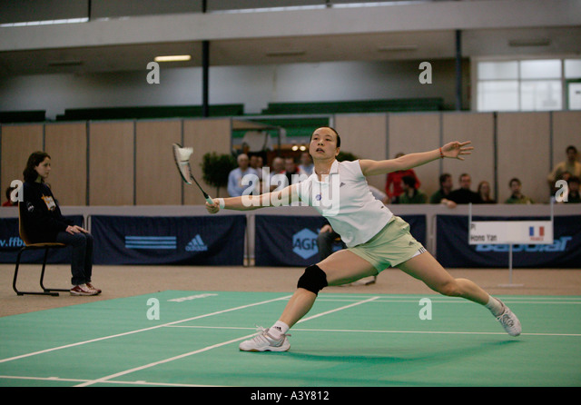 Pi Py Hongyang at French Open Badminton Championship in Paris Saturday 20 March 2004 - Stock Image
