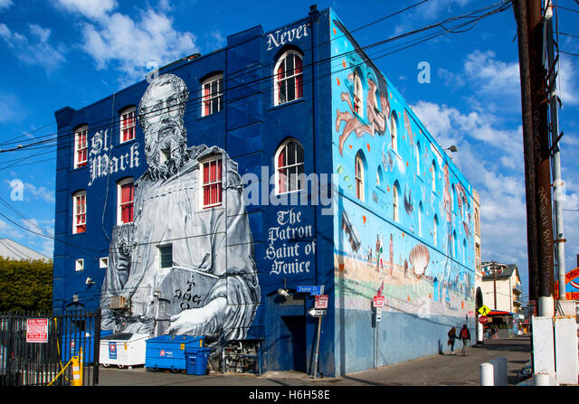 Mural at Venice beach, Los Angeles - Stock Image