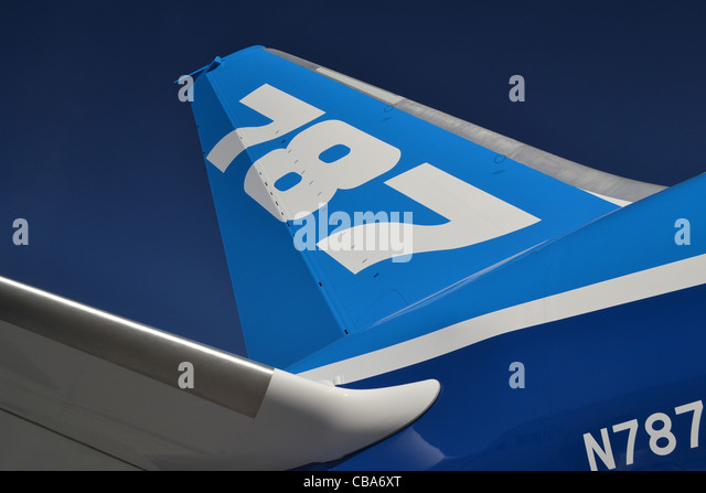 Tail fin and rear of of Boeing 787 Dreamliner - Stock Image
