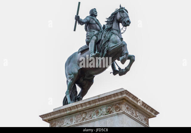 Madrid, Spain - february 26, 2017: Equestrian statue of Philip IV on the Plaza de Oriente. Isolated over white background. - Stock Image