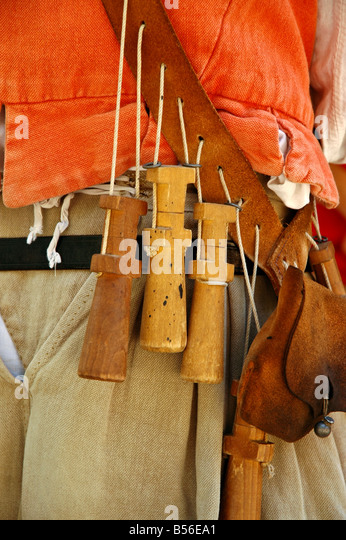 Matchlock musket apostles premeasured black powder charges bandolier shot pouch Jamestown Settlement virginia - Stock Image