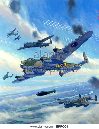 Attack on Arnsberg, 1945 by C Rupert Moore. Royal Air Force Museum, Hendon - Stock Image