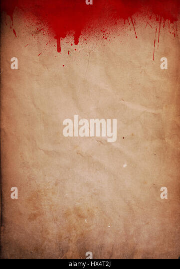 Halloween background with blood splats on grunge paper - Stock Image