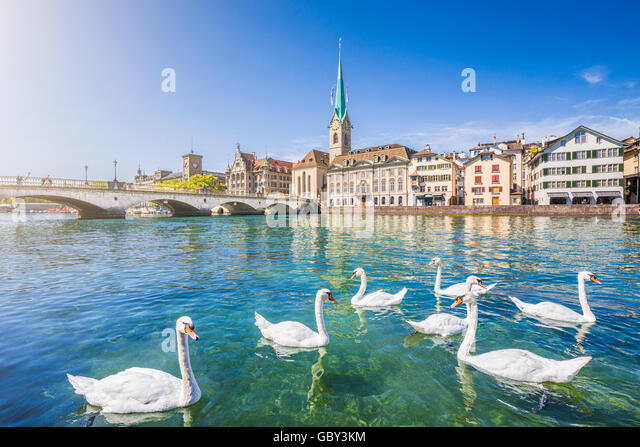 Historic city center of Zurich with famous Fraumunster Church and swans on river Limmat, Canton of Zurich, Switzerland - Stock Image