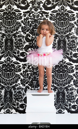 Little girl with pink tutu - Stock Image
